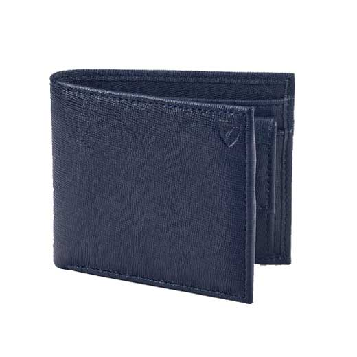 Navy Saffiano 4CC Wallet with Coin Case