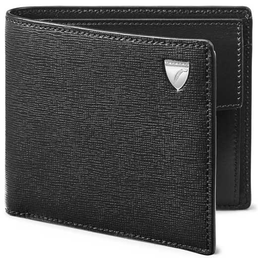 Black Saffiano Shield Wallet with Coin Case