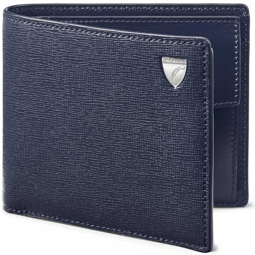 Navy Saffiano Shield Wallet with Coin Case