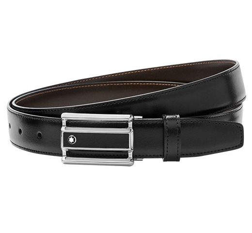 Contemporary Line Cut Buckle Reversible Black/Brown Belt