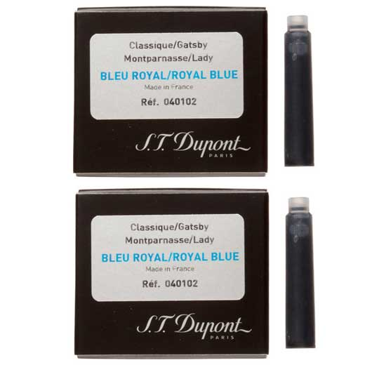 Fountain Pen Ink Cartridges - Royal Blue - 2 x Packs of 6