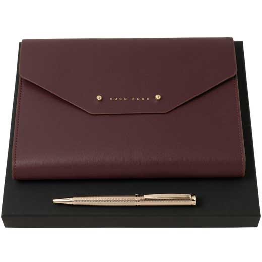 Elegance Burgundy A5 Conference Folder and Gold Ballpoint Set
