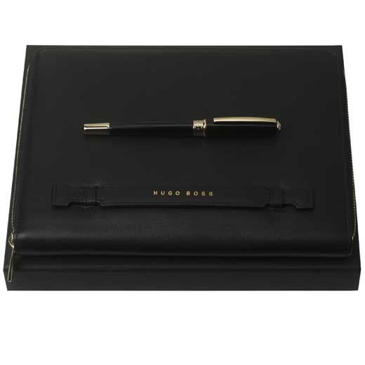 Essential Lady Black Rollerball and Conference Folder Set
