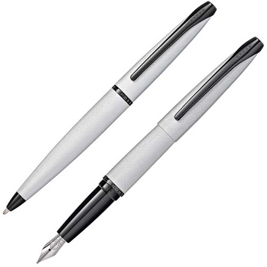 Brushed Chrome ATX Ballpoint and Fountain Pen Set