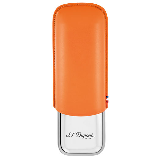 Orange Leather and Metal Double Cigar Case