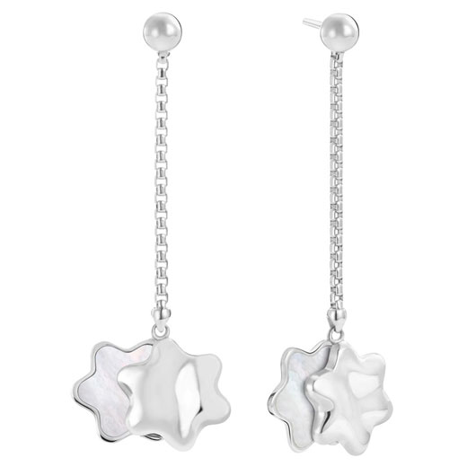Silver Star Mother of Pearl Drop Earrings