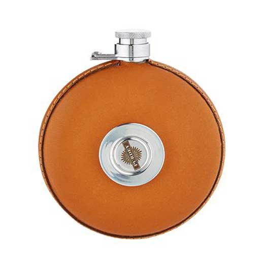Round Tan Leather Hip Flask with Tot