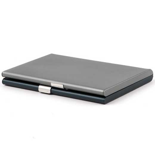 Fine Blue 2 Compartment Card Box with Mirror