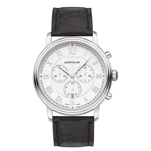 Tradition Quartz Chronograph Black Alligator-Skin Watch