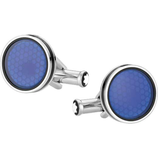Blue Mineral Glass Centre Star Cufflinks