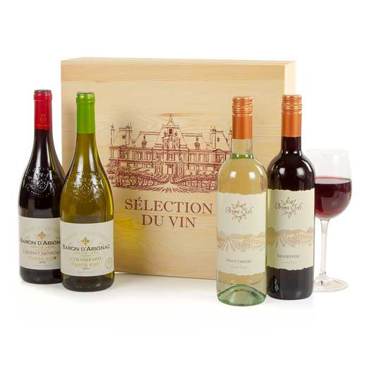 Four Wines in Decorative Wooden Box