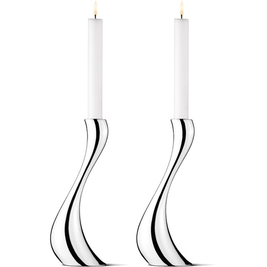 Stainless Steel Cobra Pair of Large Candle Holders
