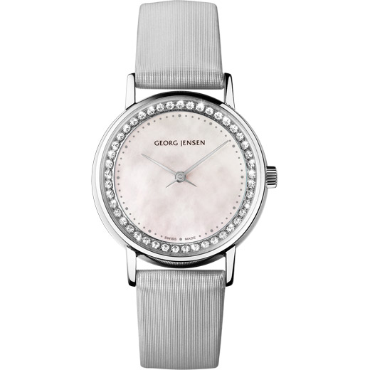 Watch - Koppel 28 mm, 2 hands,white mother pearl with diamonds