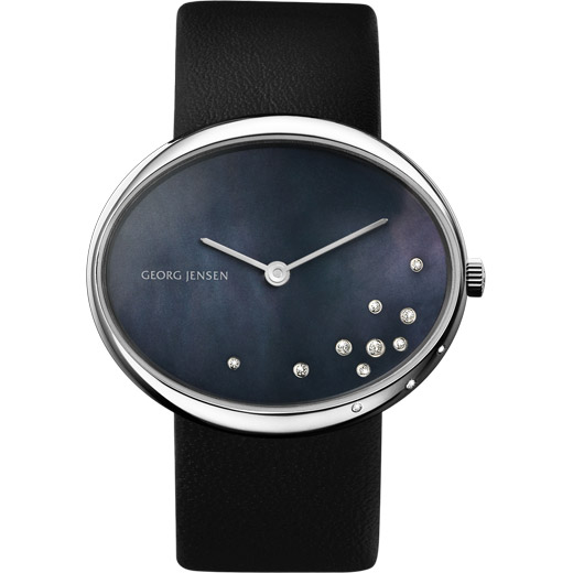 Watch - Vivianna Oval Large, Black Pearl Dial With Diamonds