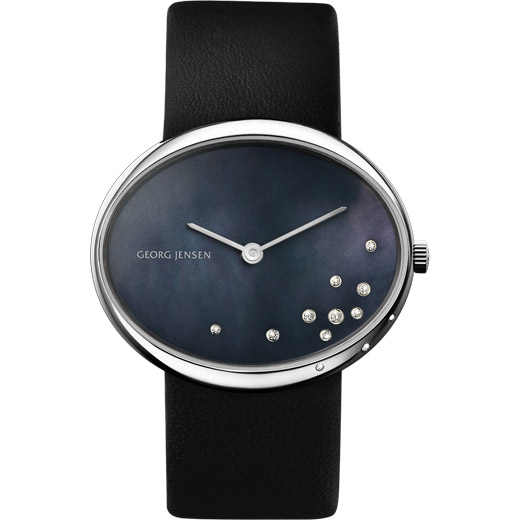 Watch - Vivianna Oval Small, Black Pearl Dial With Diamonds