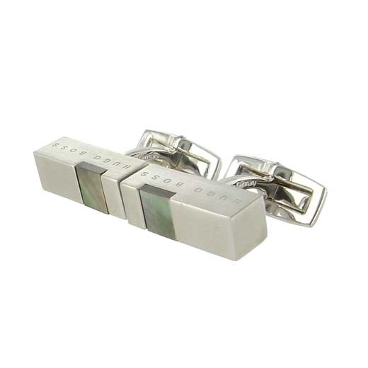 Brushed Brass T-Bernard Cufflinks with Mother of Pearl