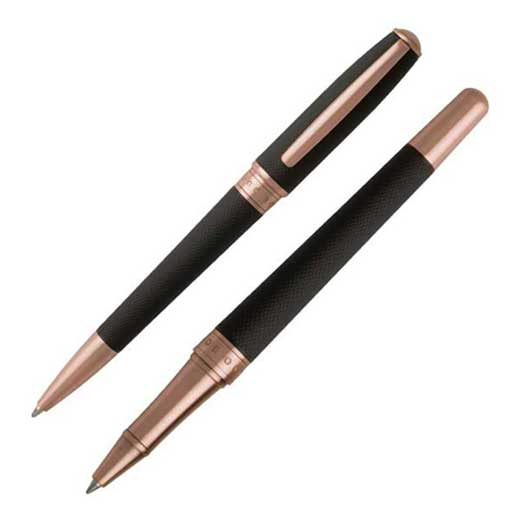 Essential Black and Rose Gold Ballpoint and Rollerball Pen Set