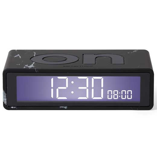 Travel Flip Black Marble Alarm Clock