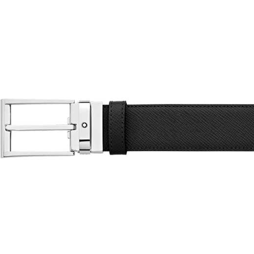 Contemporary Line Trapeze Black Textured Leather Belt