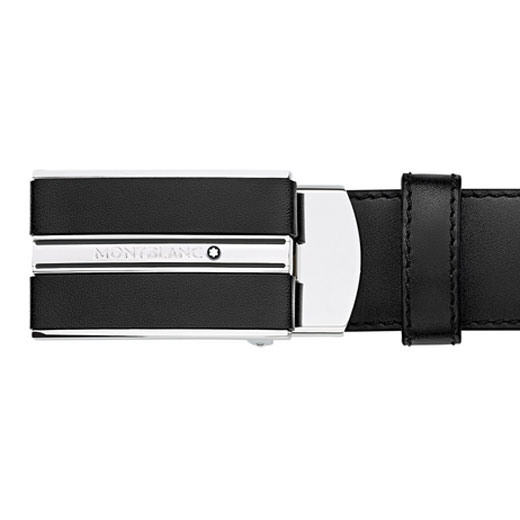 Classic Line Black Smooth Leather Rectangular Buckle Belt