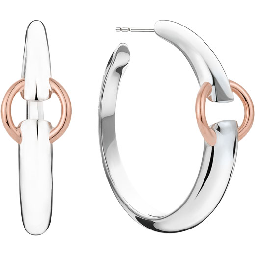 Charme Collection Sterling Silver and Pink Gold Hoop Earrings
