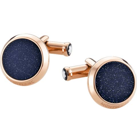 Iconic Circular Red Gold Glittery Glass Inlay Cufflinks