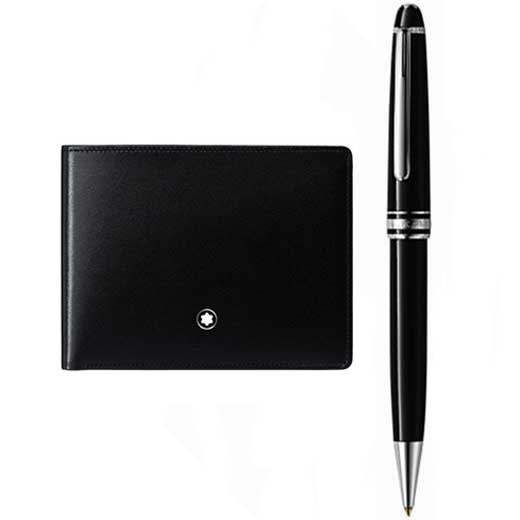 Meisterstück Classique Platinum Ballpoint Pen and Meisterstück Black 6CC Wallet