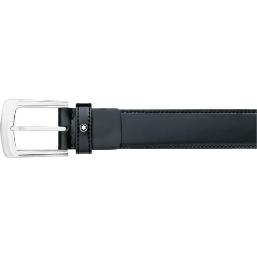 Rectangular Pin Buckle Black Leather Belt