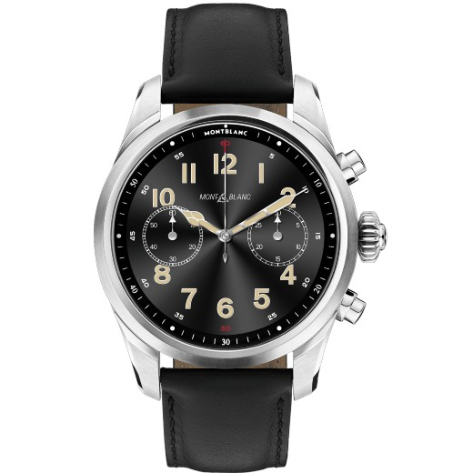 Summit 2+ Black Leather & Stainless Steel Smartwatch