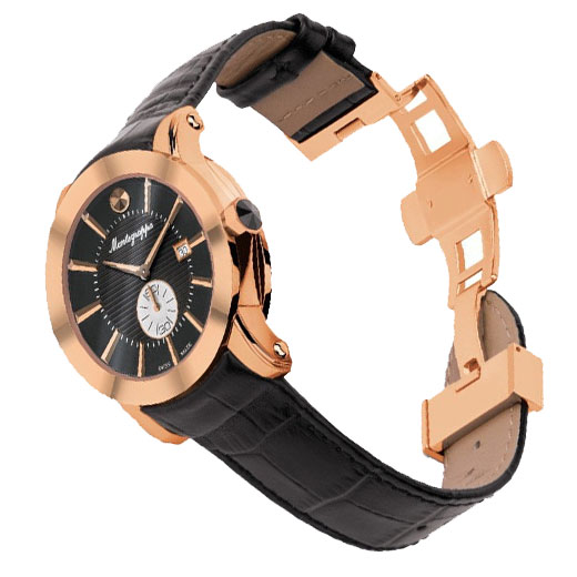 NeroUno Quartz Watch in Rose Gold PVD and Black