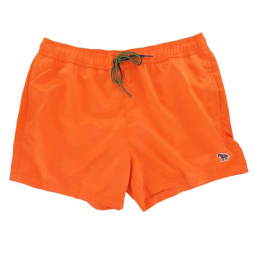 Shiny Orange Swim Shorts with Zebra Logo