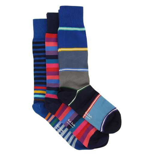 Men's Three Pack of Blue Stripe Socks