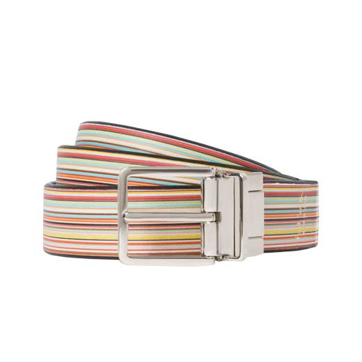 Men's Black And Signature Stripe Leather Belt with Silver Buckle