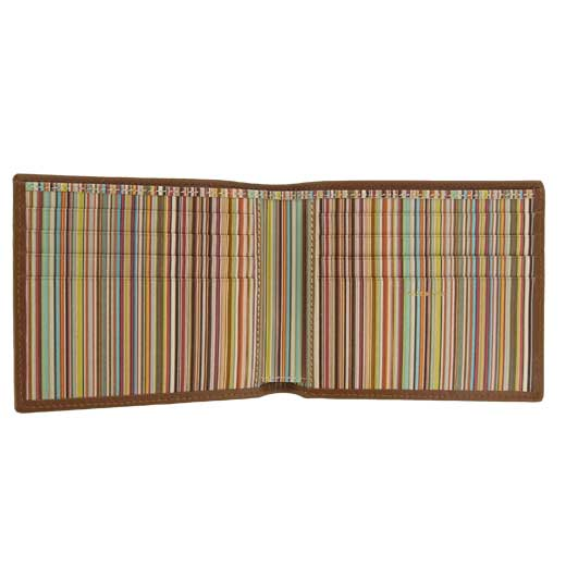 Tan Signature Stripe Interior 8CC Wallet