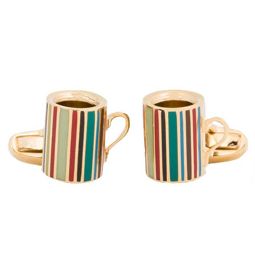 Men's Gold Signature Stripe Mug Cufflinks