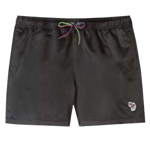 Shiny Black Swim Shorts with Zebra Logo