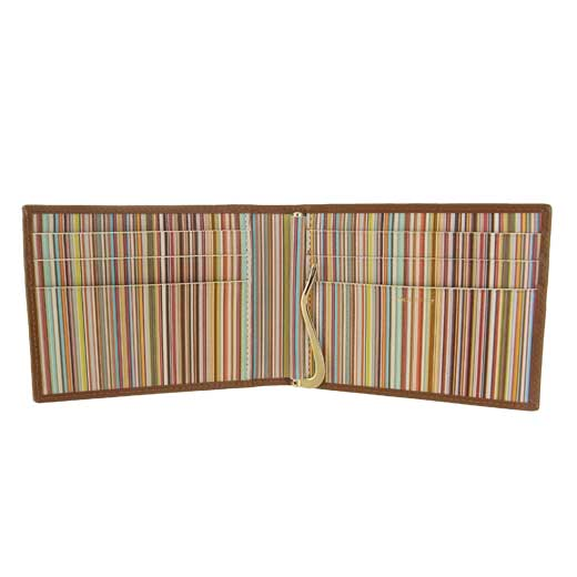 Tan Signature Stripe Interior Wallet with Money Clip