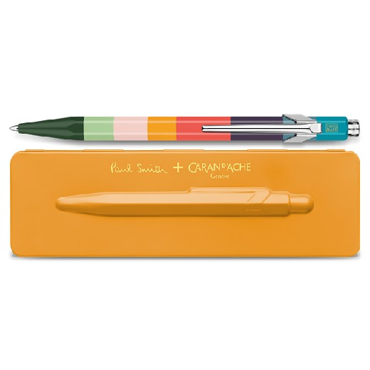 & Caran D'Ache 849 'Artist Stripe' Ballpoint Pen with Orange Case
