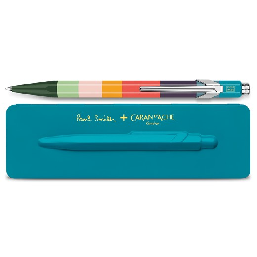 & Caran D'Ache 849 'Artist Stripe' Ballpoint Pen with Peacock Case
