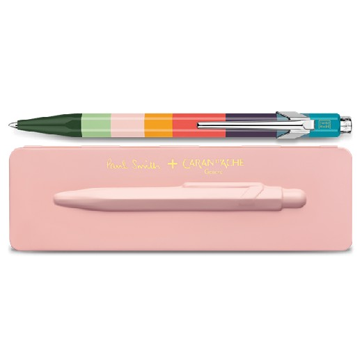 & Caran D'Ache 849 'Artist Stripe' Ballpoint Pen with Rose Pink Case