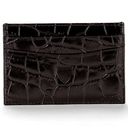 new style dee4c 856a0 Aspinal of London Amazon Brown Croc Leather Slim Credit Card Case