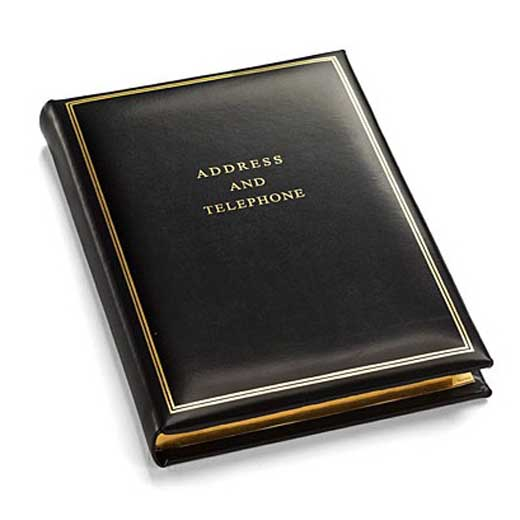 Aspinal of London Large Classic Address and Telephone Book Smooth Black  Leather
