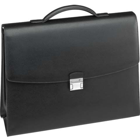 4c04be0a2c Montblanc Sartorial Leather Black Double Gusset Briefcase | Wheelers Luxury  Gifts