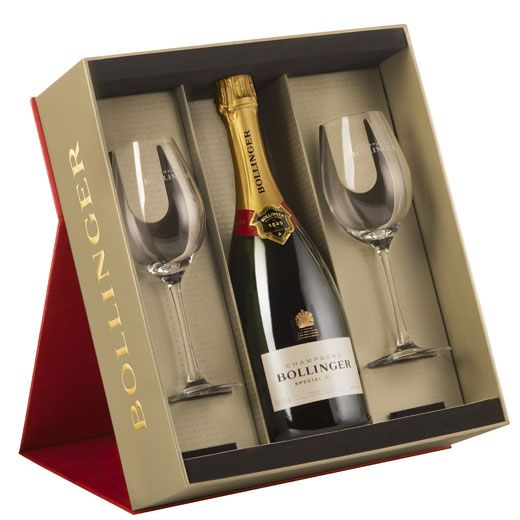 Bollinger champagne gift set with glasses