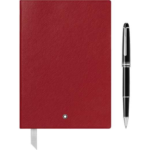 Montblanc red meisterstuck notebook and rollerball